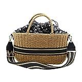 Bolsa de hombro individual – Bolsa de paja tejida a mano, gran capacidad y diseño ligero, adecuado para playas y viajes