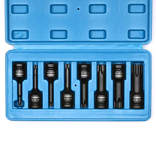 "CASOMAN 1/2"" Drive Torx Driver Impact Socket Set, Chrome-Molybdenum Steel, T30-T90, Extended Length 8 Piece Impact Torx Bits Set"