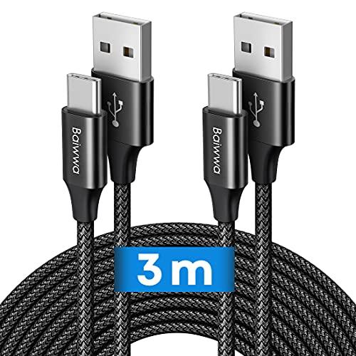 Cable USB C (3 m, 2 unidades) Baiwwa largo USB A a tipo C, cable de carga rápido para teléfono compatible con Samsung Galaxy S20 S21 S10 S9 S8 Plus, A41 A51 A71 A20e A21s, Google Pixel-Negro