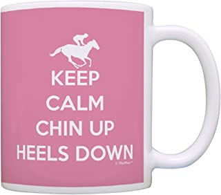 Horseback Riding Gifts Keep Calm Chin Up Heels Down Equestrian Gift Coffee Mug Tea Cup Pink