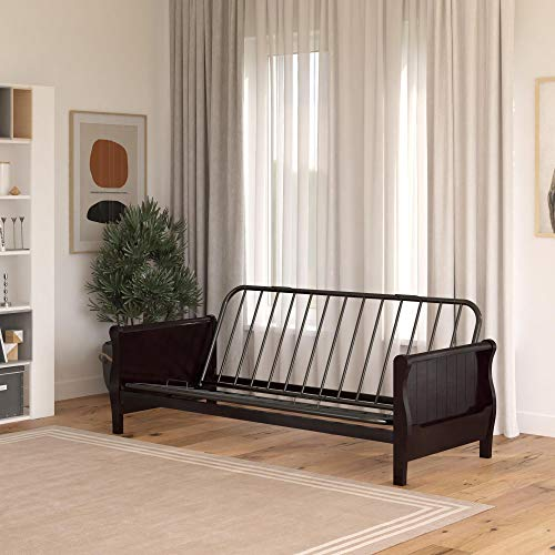 DHP Futon Wood Arms and Side Storage Mattress Sold Separately, Espresso, Expresso Frame