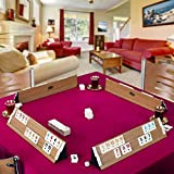 LaModaHome Star Deluxe Polished Light Wooden Rummy/Okey/101 Game Set with Tile Container and Dices, for Adults and Kids, Perfect for Game Nights, Team Game, Outdoor, Indoor