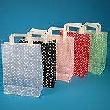 250 Papiertragetaschen Papiertüten Einkaufstüten Papier farbig bunt mit weißen Punkten Made in...