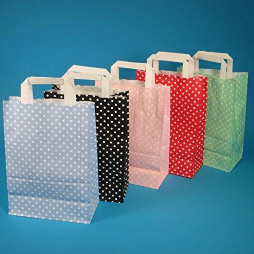 250 Papiertragetaschen Papiertüten Einkaufstüten Papier farbig bunt mit weißen Punkten Made in Germany 5 3 Verschiedene Größen zur Auswahl (Rosé/Rosa, 18+8x22cm)