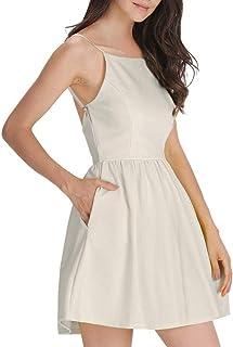 FANCYINN Damen Sommerkleid Armellos Spaghetti-Armband Kleider Elegant Rückenfreies Kurze Kleid Minikleid