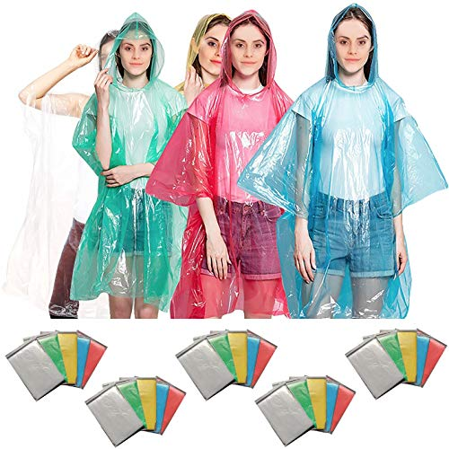 Rain Ponchos for Adults Disposable Poncho for Disney World 20 Pack Panchos Rain Adult Bulk Emergency Waterproof Plastic Raincoat with Hood Lightweight Pocket Camping Throw Away Men Women Compact Pncho