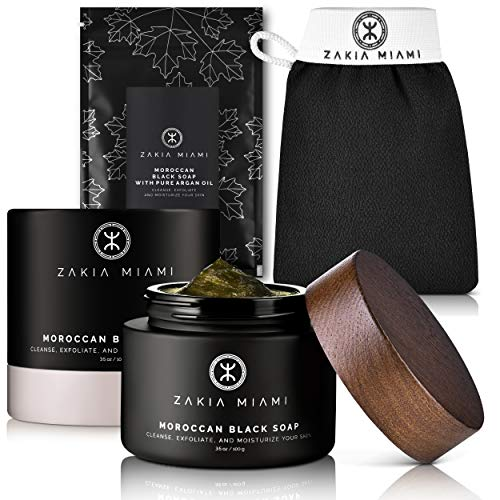 ZMCARE Organic Moroccan Black Soap with Pure Argan Oil - Authentic Natural Raw African Beldi Black Soap - Moisturizing Body Wash (7 oz/200 grams) + ZAKIA MIAMI Hammam Kessa Exfoliating Glove - Cleanse, Exfoliate and Moisturize Your Skin