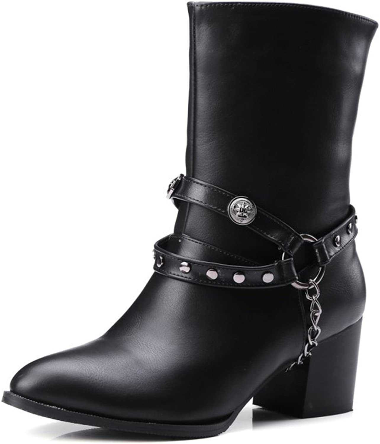 IDIFU Women's Stylish Studded Chain Pointed Toe Mid Block Heels Ankle Boots Riding Booties