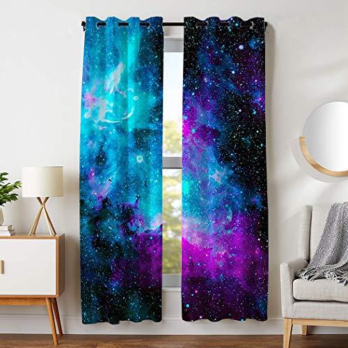 HommomH 42 x 84 inch Curtains (2 Panel) Grommet Top Darkening Blackout Room Nebula Galaxy Blue