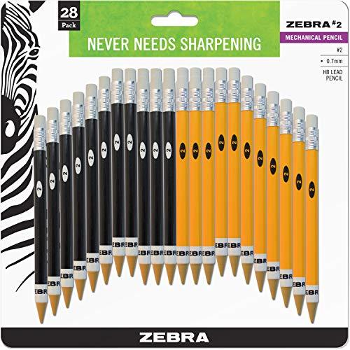 Zebra #2 Mechanical Pencil, 0.7mm Point Size, Standard HB Lead, Assorted Barrel Colors, 28-Count