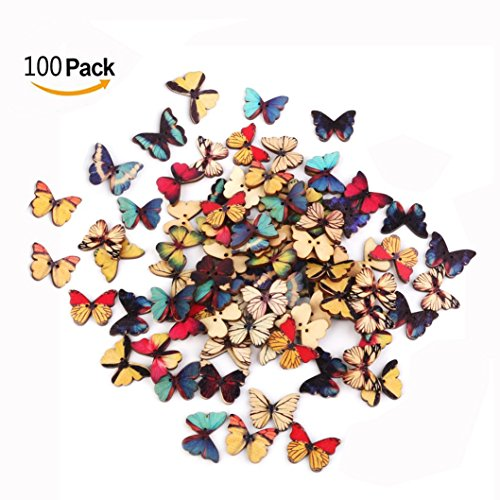 Cisixin 100pcs Botones de Madera con Diseño de Mariposa de Costura Arte DIY