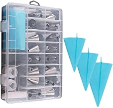 39PCS Pastry Tube Set Piping Tips with Storage Case.Include Icing Tips, Large Piping Nozzles, Couplers, Silicone Pastry Ba...