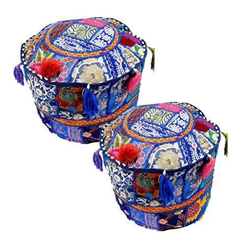 Bazarr Sitzsack, 12 x 12 cm, indisches Blau, 2 Stück, rund, handgefertigt, Hocker, Ottomane, Patchwork, Wohnzimmer, Dekoration, marokkanischer Hocker, Sitzsack