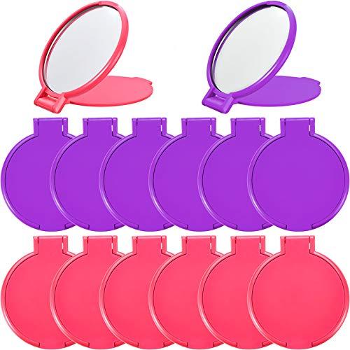 24 Piezas de Mini Espejo Plegable Espejo Redondo Portátil Compacto Espejo de Maquillaje para Mujeres Niñas, Viajes, Uso Diario, 2 Colores (Rosa, Púrpura)