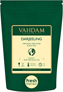 VAHDAM, 2019 First Flush Darjeeling Tea -50 Cups (3.53oz)   Loose Leaf Black Tea - Flowery, Aromatic & Delicious   Picked, Packed & Shipped Direct from India   Champagne of Teas   Mellow & Fragrant