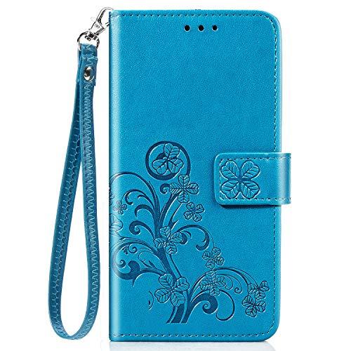 Schutzhülle für Nokia 5.4, stoßfest, PU-Leder, Klappetui, Magnetverschluss, TPU-Stoßfänger mit Standfunktion, Kartenfächern für Nokia 5.4, Blau
