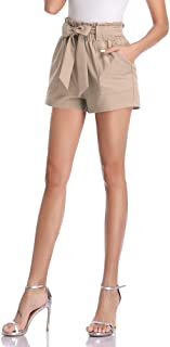 Freeprance Paper Bag Shorts for Women high Waisted Casual Shorts Elastic Waist Front Pockets