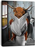 Vantboo Highland Cattle Cows are Reading Newspapers in The Toilet Canvas Prints Wall Art Paintings Home Decor Artworks Pictures for Living Room Bedroom Bathroom Decoration Ready to Hang 16x20 Inches