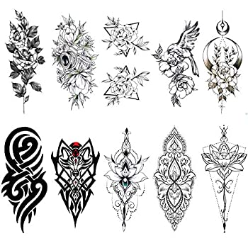 Ooopsiun 10 Sheets Large Flower Temporary Tattoos For Women Waterproof Fake Body Arm Chest Shoulder Black Tattoos for Men and Women,Rose,Henna,Totem