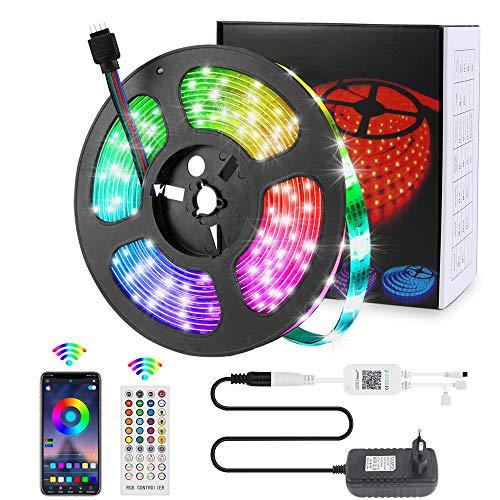 Karrong LED Streifen 5m, LED Light Strip Musik Sync Farbwechsel Wasserdicht, Einstellbare Helligkeit Timing mit Fernbedienung APP Bluetooth Kontroller für Schlafzimmer Party Dekoration