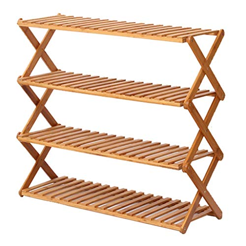 WYZXR Zapatero para muebles de pasillo de 4 niveles, plegable, multifunción, a prueba de polvo, bambú natural (no es necesario instalar) (tamaño: 100 cm)