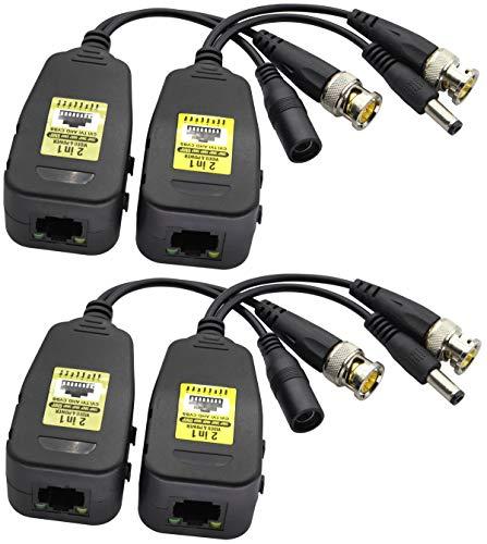 AAOTOKK Balun Video Pasivo RJ45 a BNC Transmisor Transceptor HD-CVI/TVI/AHD/CVBS con Conector Alimentación CC para 960P 1080P 3MP 4MP 5MP 8MP CCTV Seguridad DVR Sistema Cámara vigilancia(18 cm-2Pares)