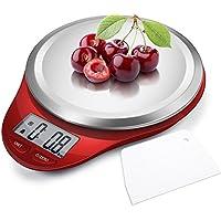 CAMRY Balanza Cocina Básculas de cocina Báscula digital de Cocina Balanza Electrónica para Alimentos,5kg / 11lbs, Peso de Cocina de Acero Inoxidable, Pantalla LCD (Rojo)