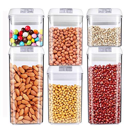VIVILINEN Juegos de Recipientes de Plástico Transparente para Almacenamiento de Alimentos con Tapas Contenedores de Alimentos sin BPA para Conservar Alimentos Té,Café,Pasta (Blanca)