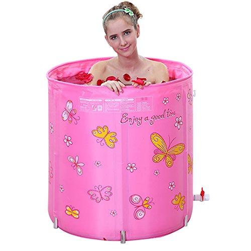 Épaississement et levage des seaux pliants Quilting Isolation Baignoires gonflables gratuites Bain adulte Réglage à cinq vitesses (Couleur : Pink)