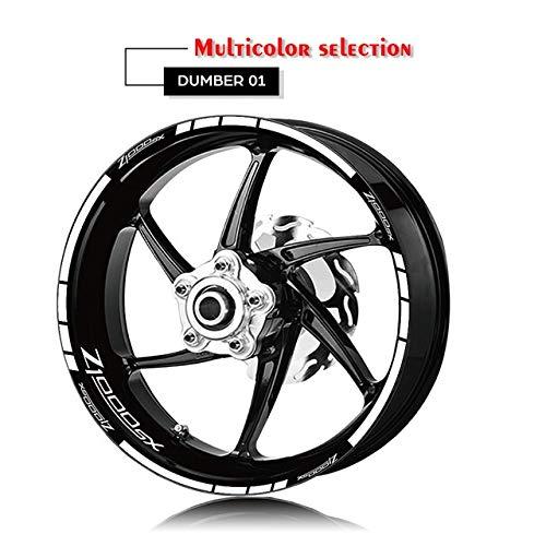 Anhuidsb Motorrad-Reifen und Felge Reflective Dekorative Aufkleber Kombination Räder Aufkleber-Set for Kawasaki Z1000SX mit Logo (Color : XT LQ Z1000SX WHT)