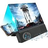 GuDoQi Amplificador de Pantalla para Teléfono Móvil con Altavoz Bluetooth, 5D Pantalla del Lupa HD de 12-Pulgadas Zoom 2-4 Veces, Protección para los Ojos para Ver Videos y Películas