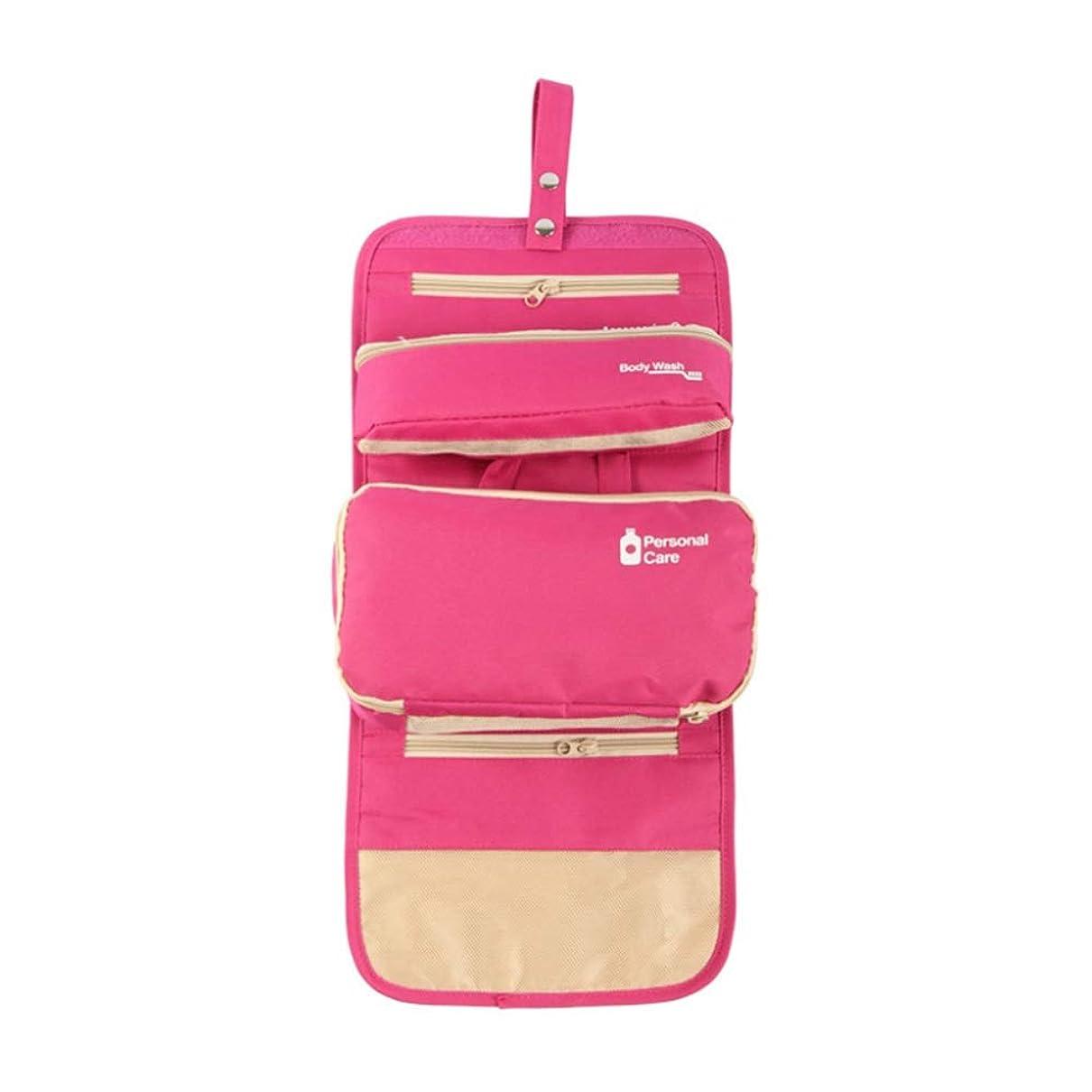 お香おなかがすいた集計化粧オーガナイザーバッグ ハンギングトラベルウォッシュバッグナイロンポータブル化粧品家庭用ストレージバッグ折りたたみ旅行化粧品収納ボックス 化粧品ケース (色 : ピンク)
