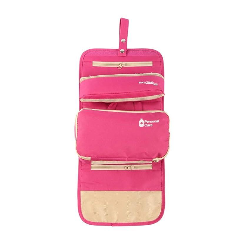 穀物適応的応じる特大スペース収納ビューティーボックス 女の子の女性旅行のための新しく、実用的な携帯用化粧箱およびロックおよび皿が付いている毎日の貯蔵 化粧品化粧台 (色 : ピンク)