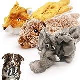 Xnuoyo 3PCS Squeak Peluche Giocattoli per Cani Durevole Giocattolo interattivo per Cani con Squeaker Giocattoli per cani da masticare per Cani Piccoli Medie Grandi(Elefante + marmotta + scoiattolo)
