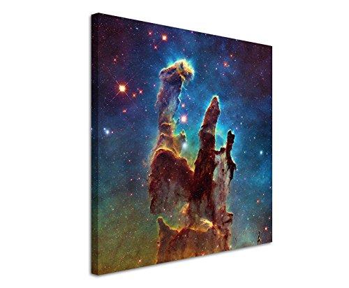 Paul Sinus Art Quadratische Fotoleinwand 90x90cm Künstlerische Fotografie – Leuchtende Galaxie auf Leinwand Exklusives Wandbild Moderne Fotografie für ihre Wand in vielen Größen