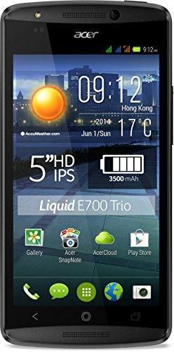 Acer Liquid E700 Trio Smartphone (12,7 cm (5 Zoll) Zero-Air-Gap IPS HD-Display, Tri-SIM, 1,3GHz, Quad-Core-Prozessor, 2GB RAM, 16GB interner Speicher, 8 Megapixel Kamera, Android 4.4.2 KitKat) rot