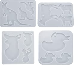Coxeer 4PCS Animal Epoxy Mold Multipurpose Resin Art Mold Keychain Charm Mold Casting Mould