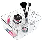 iDesign Clarity InterDesign Cosmetic Organizer Tote for Vanity Cabinet to Hold Makeup, Beauty Products - Clear, 8 Compartments, Bin