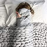 "eacho Chunky Knit Blanket Soft Bulky Hand Made Throw for Bedroom Sofa Decor Super Large,Grey,40""x40"""