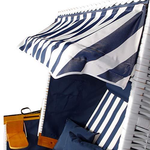 BRAST Strandkorb Nordsee XXL Volllieger Blau Weiß gestreift incl. Schutzhülle 2 Sitzer 120cm breit Gartenliege Sonneninsel Poly-Rattan - 5