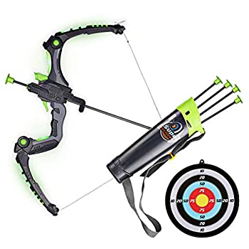 SainSmart Jr Kids Bow and Arrows Light Up Archery Set for Kids Outdoor Hunting Game with 5 Durable Suction Cup Arrows Luminous Bow and Sighting Device Green