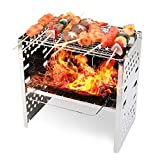 GALMAXS7 Portable Wood Burning Camp Stove Folding Stainless Steel Camping Backpacking Wood Stove Twig Stove Survival Stove for 2-3 People Outdoor Hiking Cooking BBQ Picnic -with Storage Bag