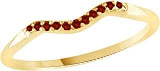 Round Cut Simulated Garnet Curved Wedding Band Ring in 14k Gold Over Sterling Silver