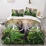 Mscomft - Juego de cama para adultos y niños, diseño de elefante de animales salvajes, funda de edredón y fundas de almohada para niños y niñas (A05,140 x 210 cm)