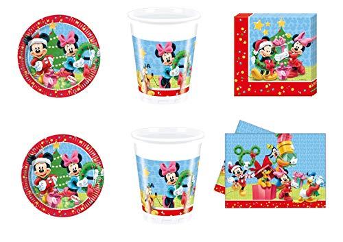 Party Store web by casa dolce casa Mickey Mouse Navidad Coordinado Addobi Fiesta - Kit n° 2 CDC-(16 Platos de 23 cm, 16 Vasos, 20 servilletas, 1 Mantel)
