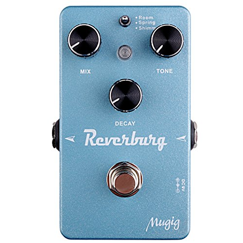 Reverb Guitar Effect Pedal Mugig, Three Modes, Room/Spring/Shimmer, True Bypass