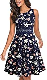 HOMEYEE Women's Sleeveless Cocktail A-Line Embroidery Party Summer Dress A079 (10, Flower)
