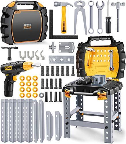 GeyiieTOYS Werkzeugkoffer Werkzeug Kinder Spielzeug Werkzeugkasten Handwerker Set Spielwerkzeug für...