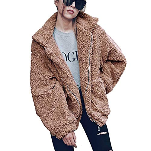 JewelryWe winterjas voor dames, herfst, elegant, vintage, lange mouwen, leuk warm, bont, casual, breed, comfortabele mantel parka jas kaki -  - L
