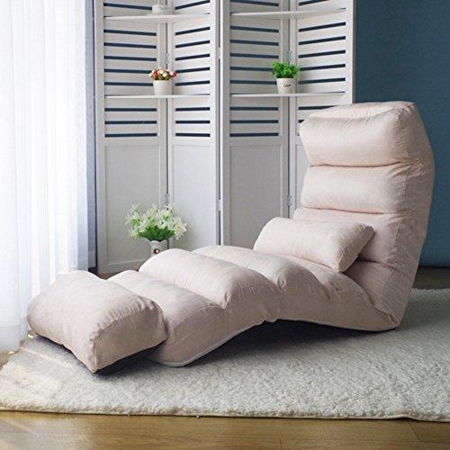 Private home textiles Tatami Chaise de Sol,Siesta Canapé Pliant,Individuel Mini canapé,Chaise Lounge Divan-Lits Amovible Long Imperméable Hydrofuge Chaise Longue-Blanc